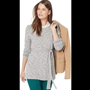 J. Crew Factory Marled Heather Belted Sweatshirt